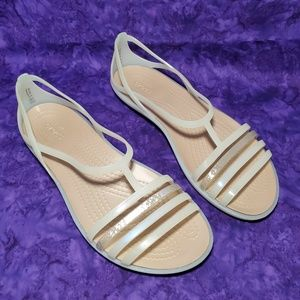 Crocs 7 Isabella Strappy Sandals Oyster Nude